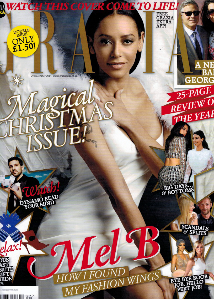 Mel B wearing Charlie Brear on the Front cover of Grazia Magazine! Grab your copy now! www.charliebrear.com