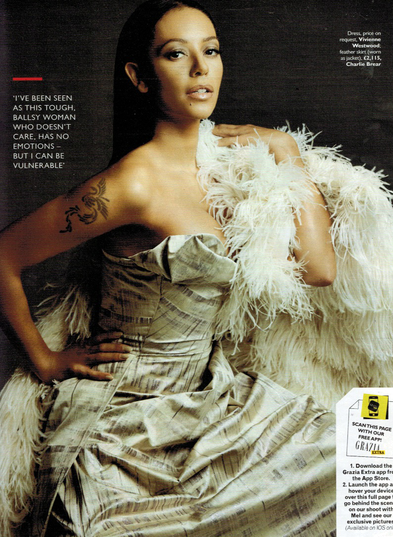 Mel B wearing Charlie Brear Feather's in Grazia Magazine 29th December Issue. www.charliebrear.com