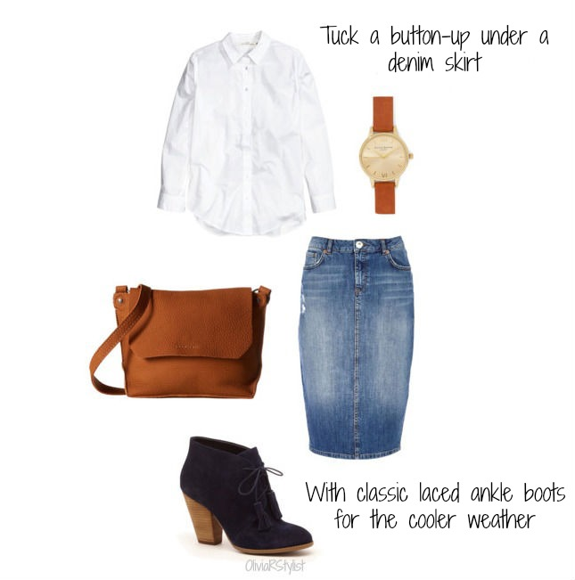 Button-up shirt: H&M  Denim skirt: River Island Boots: Sole Society Bag: Zappos Watch: Olivia Burton for ModCloth