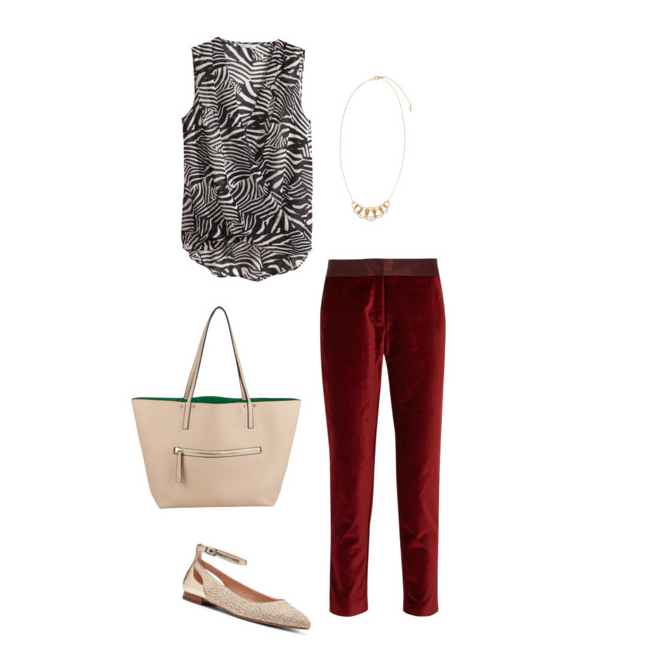Shirt:   H&M  Draped Blouse, $24.95 |  Pants:   Joseph Altuzarra for Target , $39.99 |  Flats:   Sole Society  |  Handbag:   Aldo's  |  Necklace:   H&M