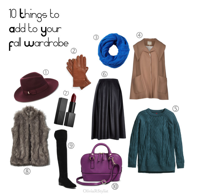 1.  Burgundy   Fedora Hat:   Accessorize.com   2.  Brown   Leather Gloves:   Nordstrom   3.  Blue   Giant Loop Scarf:   ASOS   4.  Camel   Cape Sweater:   YOOX   5.  Green   Chunky Knit Sweater:   H&M   6.  Black   Leather Skirt:   River Island   7.  Burgundy Lipstick:   NARS   8.  Faux Fur Vest:   Abercrombie   9.  Over the Knee Boots:   Steve Madden    10.  Purple Handbag:   Target