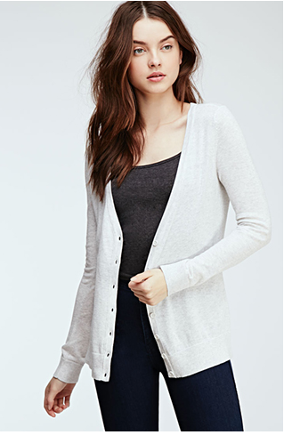 5. When temperatures slightly drop at night, you can slip on this light cardigan over your summer dress and feel cozy and adventurous to take in the night scenery!  Classic V-Neck Cardigan | Forever 21