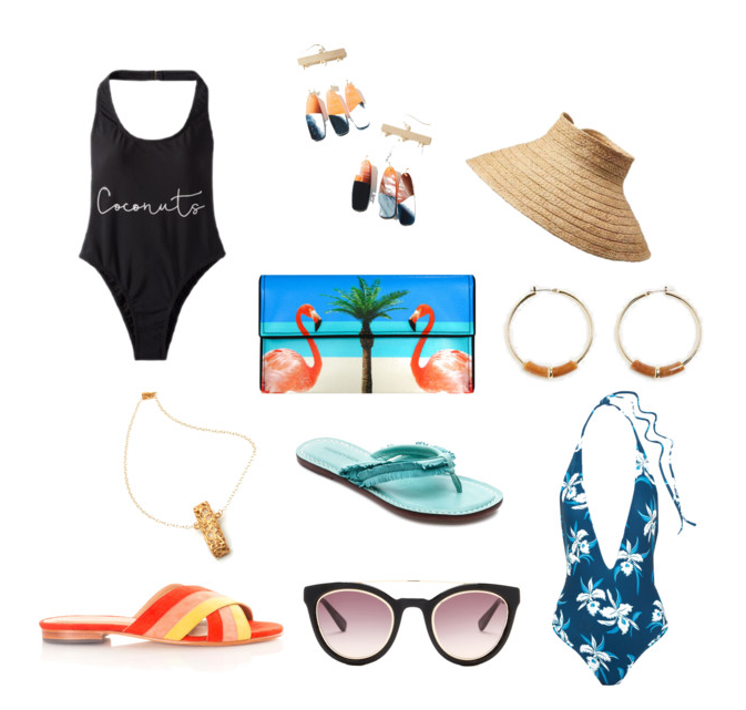 Coconuts Swimsuit: Express Rectangle Necklace: Jessica Ricci Slides: Charlotte Stone Drop Earrings: Anthropologie  Flamingo Clutch: Kent Stetson Sandals: Bernardo Cat Eye Sunglasses: Derek Lam Straw Visor: Athleta Hoop Earrings: Ann Taylor Halter Swimsuit: Mikoh