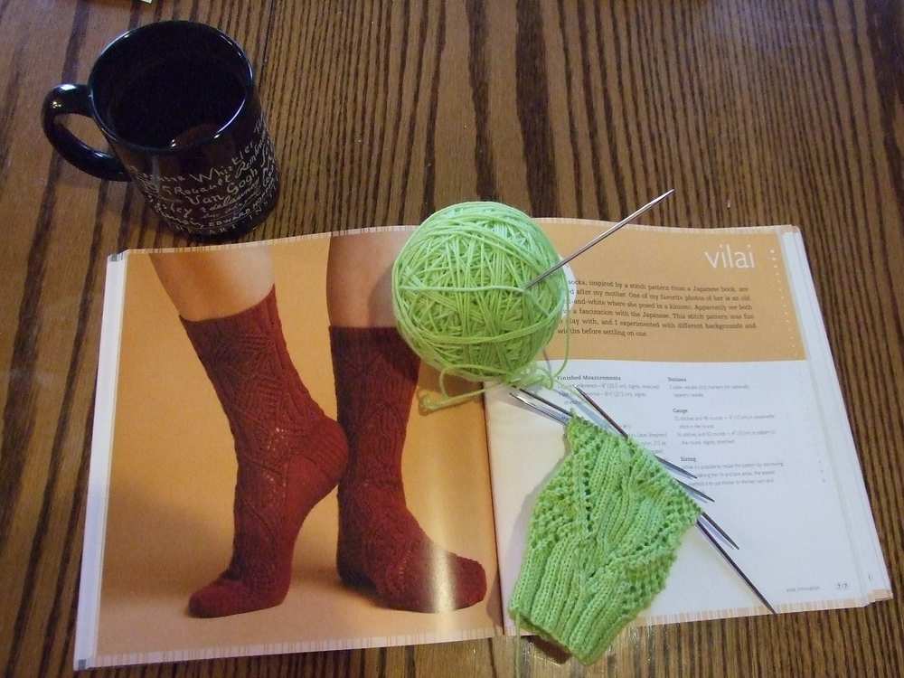 Pattern: Vilai from Cooki a's Sock Inovation Yarn: Cascade Yarns Heritage Sock Yarn  Color: 5629