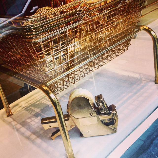 OH MY GODDD!! I SSO love love love this! So hysterically funny!! Shop window display #anyahindmarch #gold #grocer #chic #shop #housekeeper #wastedonstaff #witty #artistic #fashion #creative