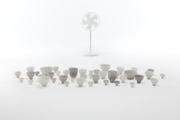 Nendo's Shivering Bowls, made from silicone rubber they quiver as the fan passes over