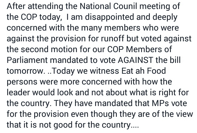 Online comments from a COP member about today's meeting with the party's membership to discuss support for the Constitutional Amendment Bill.