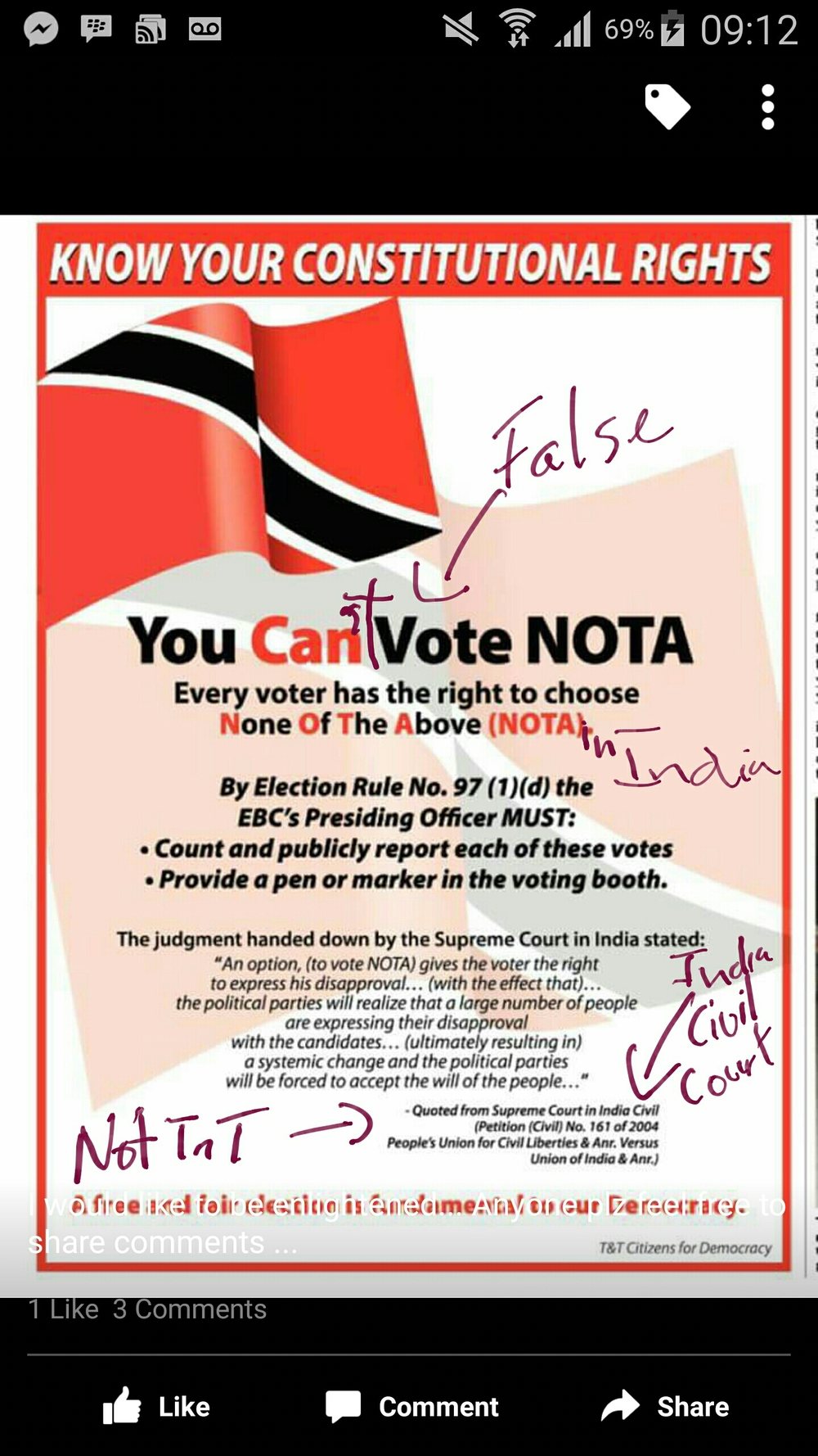 A group calling itself TT Citizens for Democracy has post this flyer that falsely implies NOTA is a legal option in Teinidad and Tobago.