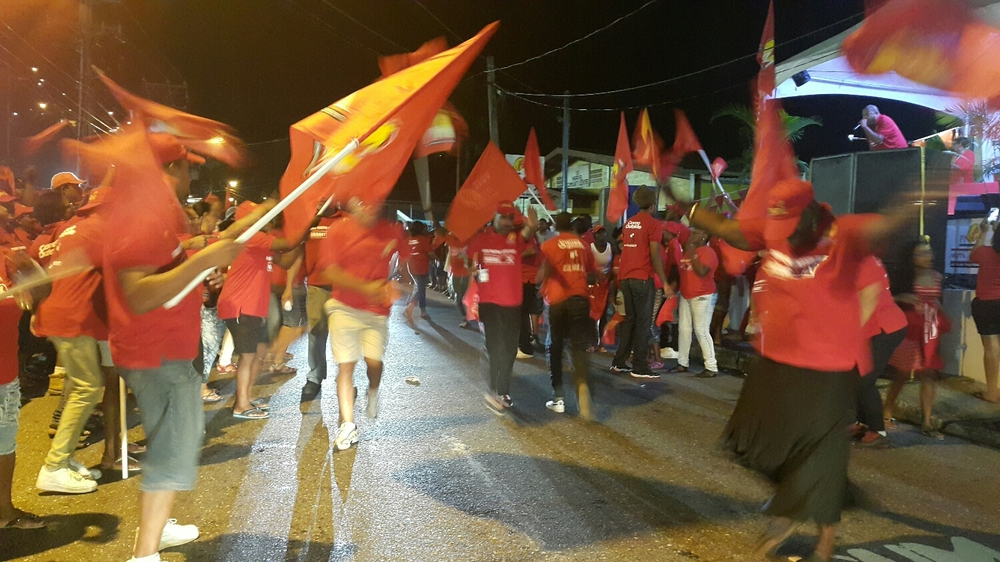 High spirits at the Diego Martin North East Grand Finale in Maraval last evening.