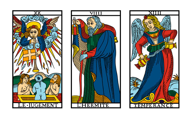 20: Judgment, 9: The Hermit, 14: Temperance
