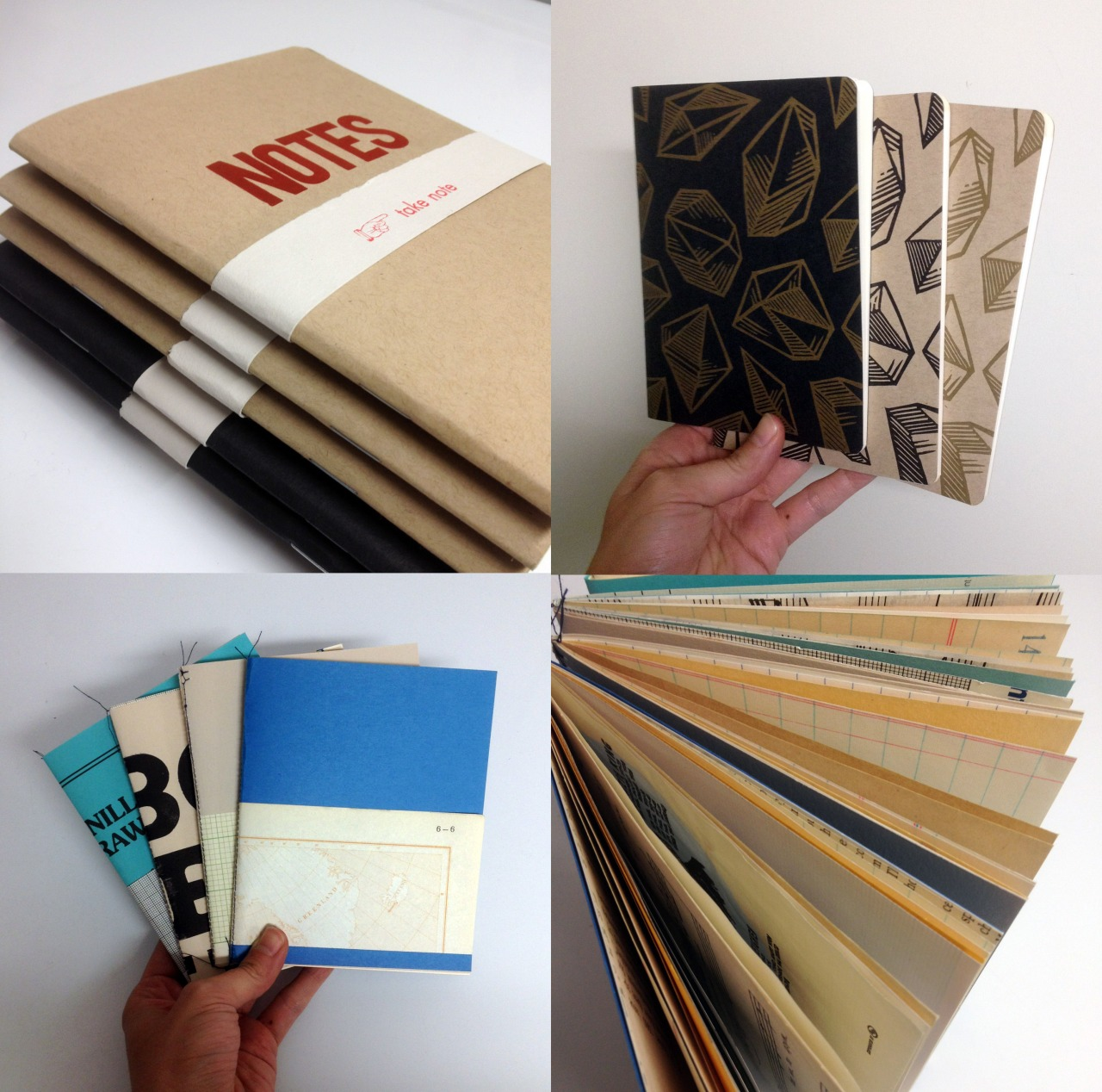 "allsortspress :     Still waiting to get into the new studio, but here's a bunch of notebooks in the meantime - large red on kraft/black on black ""notes"", small gem prints, and found papers. PM me at sara@allsortspress.com for details and I'll stick one in the mail for you!     These look wonderful!"