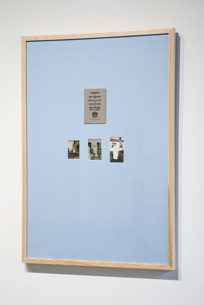"Installation and Investiture,  24"" x 36,"" found objects, 2014. (available)"