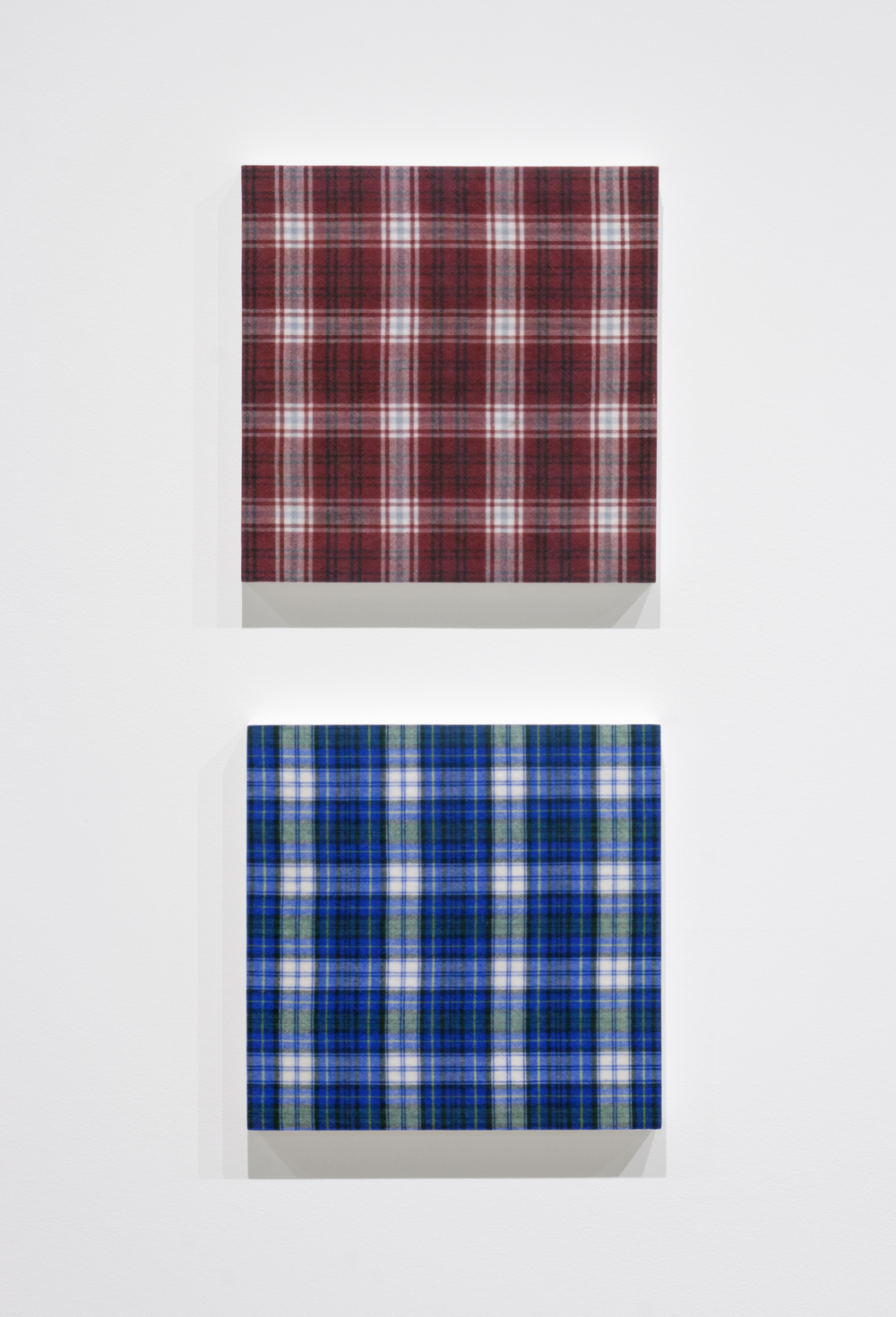 Shirt (Burgundy Plaid) , 2015, gel medium transfer on panel, 25.5 x 25.5 cm (10 x 10 in);  Shirt (Blue Plaid) , 2015, gel medium transfer on panel, 25.5 x 25.5 cm (10 x 10 in)