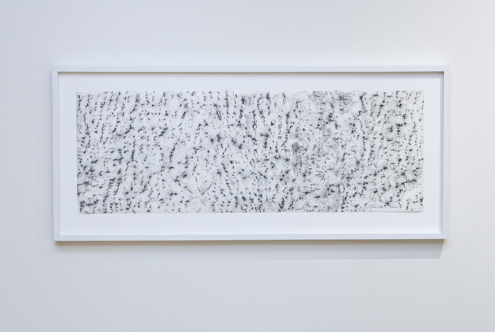 White Ash , 2015. Graphite on Japanese paper, 33 ½ x 11 ¾ inches. Book: Whitehead, Alfred North  Adventures of Ideas