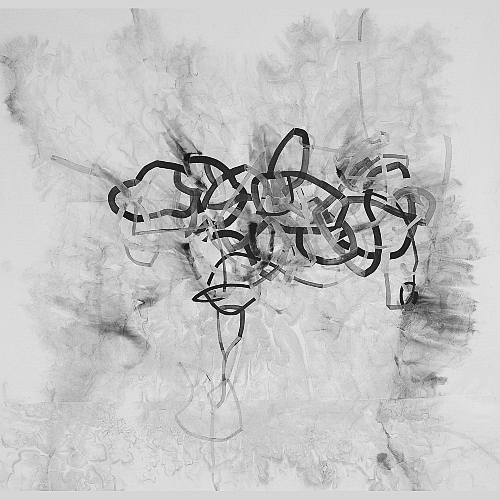 Niloufar Salimi.  Tangled 1  , 6'x5', Ink on paper