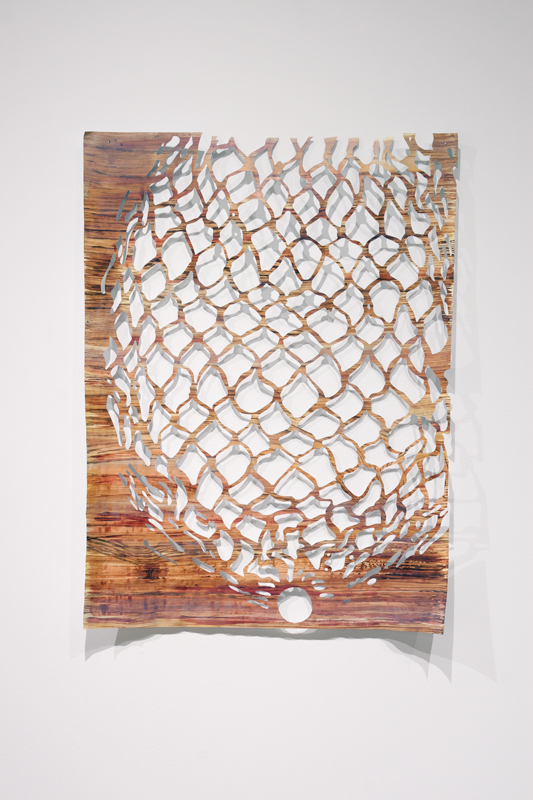 "Untitled ( Net #2 ), 2014.   Acrylic and casein on hand-cut paper,   18"" x 24"""