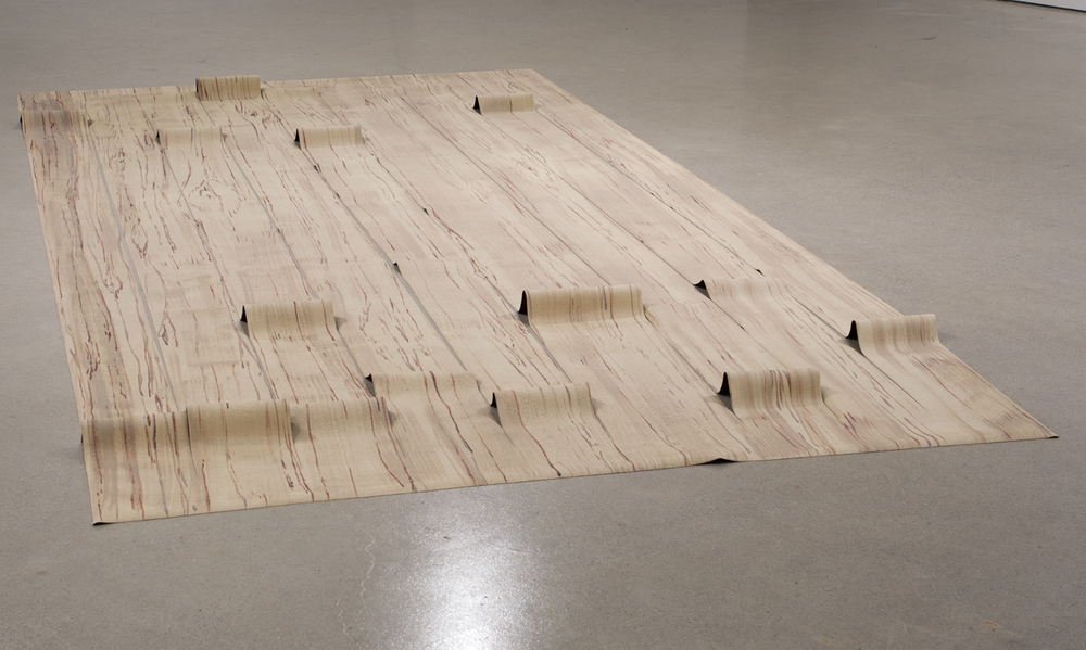 Untitled  ( Sliced 4 x 8 ), 2014.   Acrylic on faux leather vinyl,   4' x 8'