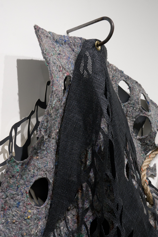 "Gaps Full of Potential #2   ,   detail,   2014.   Hand-cut faux leather foam, felt, rubber screen, steel, rope,   48"" x 48"" x 7"""