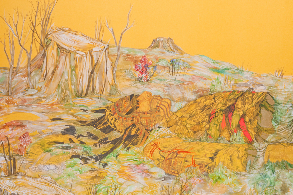 Re-grounding, 2011, 108 x 179 inches.Watercolor, acrylic, phosphorescent paint, pigment, gold leaf on canvas.