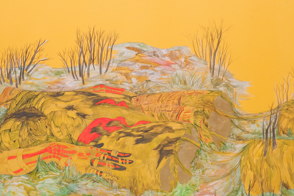 Re-grounding,  2011, 108 x 179 inches. Watercolor, acrylic, phosphorescent paint, pigment, gold leaf on canvas.
