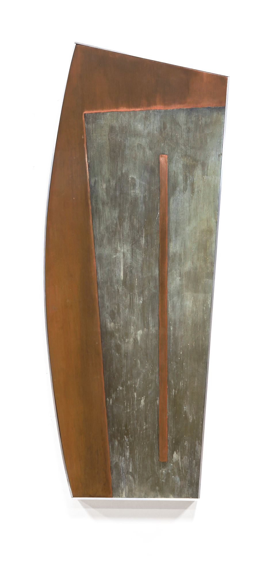 "Linear Composition No. 9 (study) , Sep. 2014, copper, tin, pine, plywood aluminum., 30 1/2""h x 12""w x 2""d"
