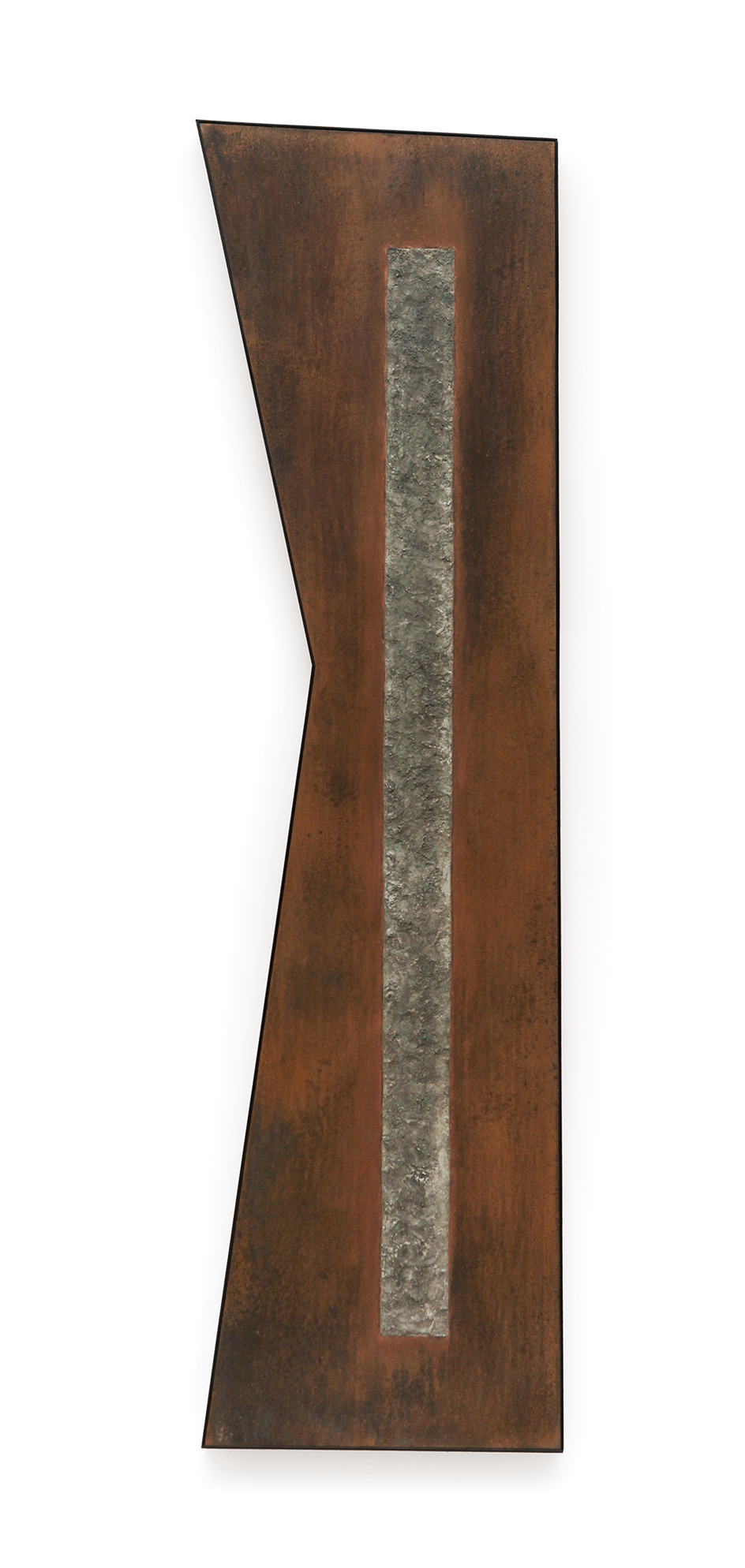 "Zig No. 1 , 2015, copper, tin, pine, plywood aluminum, 60""h x 16 3x 8""w x 2""d"