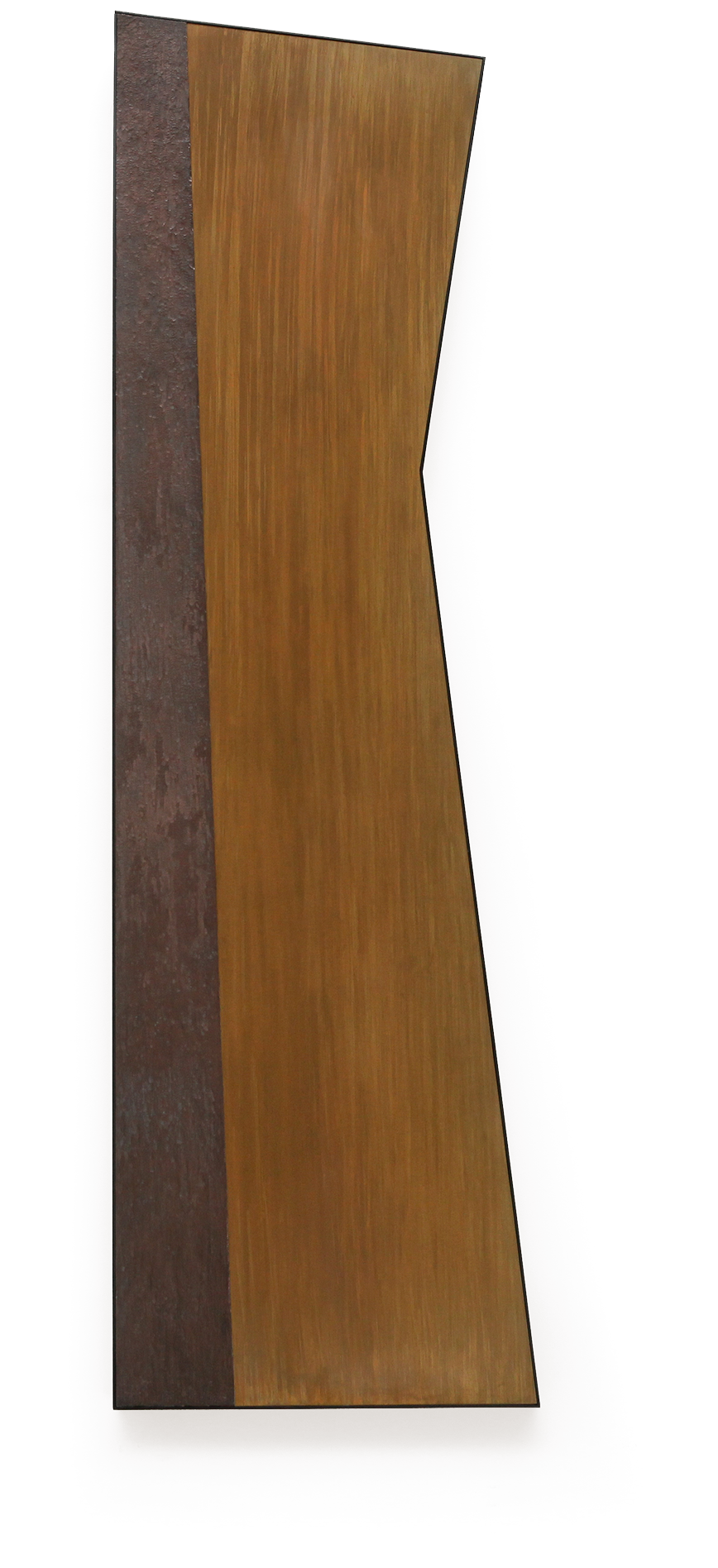 "Zig No. 3 , Dec. 2015, copper, tin, pine, plywood aluminum, 60 5/6""h x18 1/4""w x 2""d"