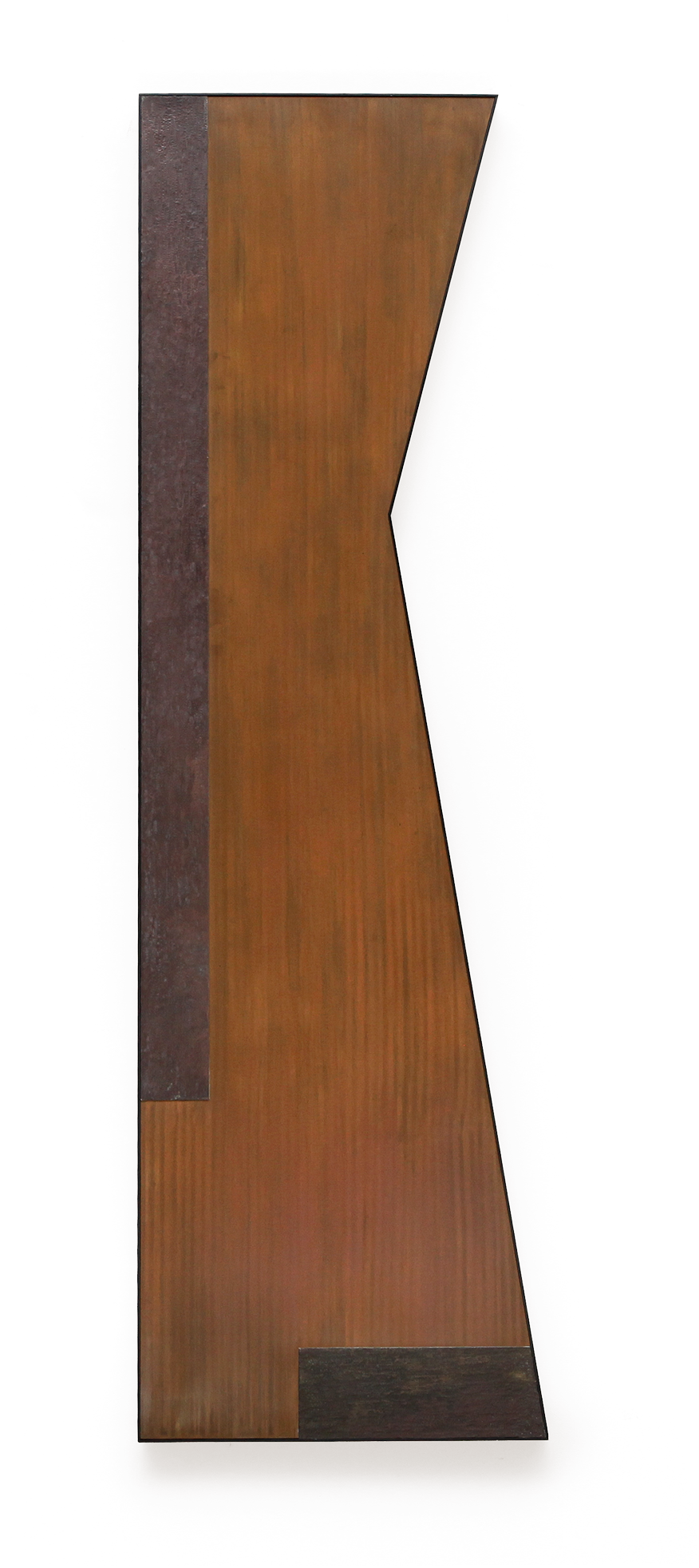 "Zig No. 4 , Dec. 2015, copper, tin, pine, plywood aluminum, 60 1/4""h x 18 1/4""w x 2""d"