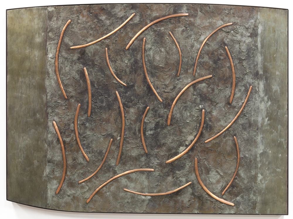 "Dance No. 3 , March 2015, copper, tin, pine, plywood, aluminum, 36 1/4""h x 48 1/4""w x 2""d   AVAILABLE"