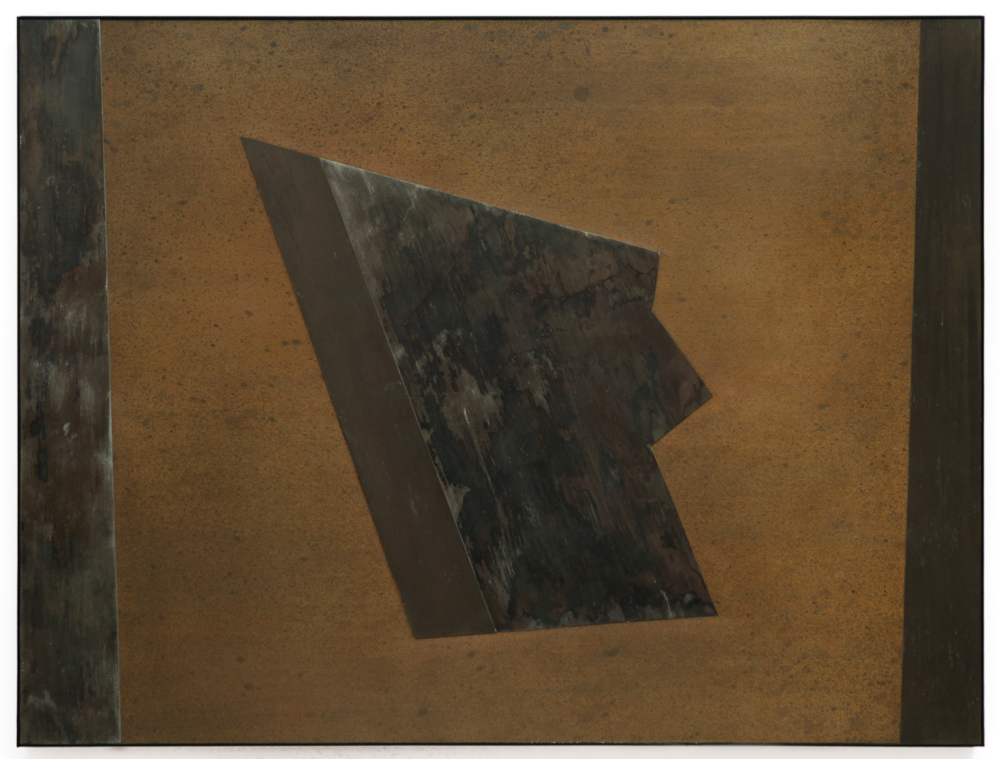 "Divergent Harmonies No. 3 , 2015, copper, tin, pine, plywood, aluminum, 36 1/4""h x 47 3/4""w x 2""d  AVAILABLE"