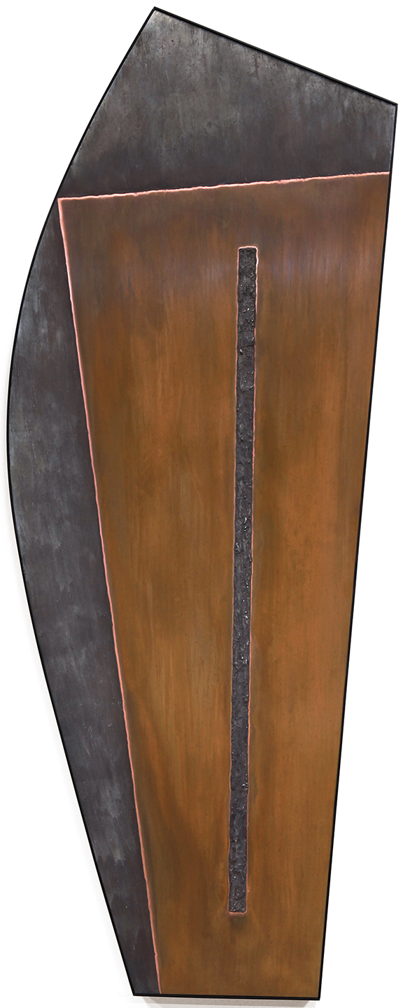 "Linear Composition No. 7 , Oct.-Nov.2014, copper, tin, pine, plywood aluminum, 59 3/8""h x 34 5/8""w x 2""d   AVAILABLE"