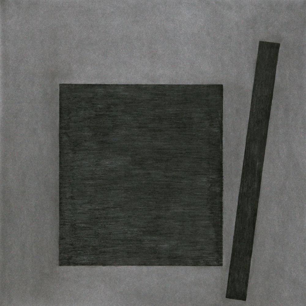 "Press No. 3 , Feb. 2015 charcoal on Stonehenge, 44""h x 44""w  AVAILABLE"