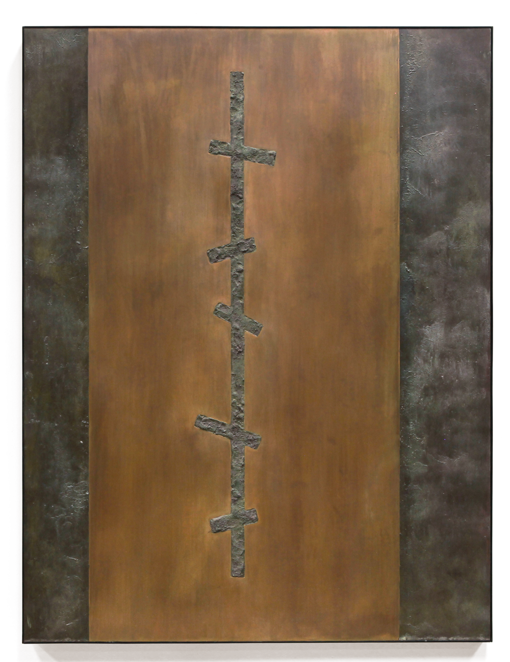 "Crosscurrent No. 2 , Jan. 2015, copper, tin, pine, plywood aluminum, 47 3/4""h x 36 1/4""w x 2""d"