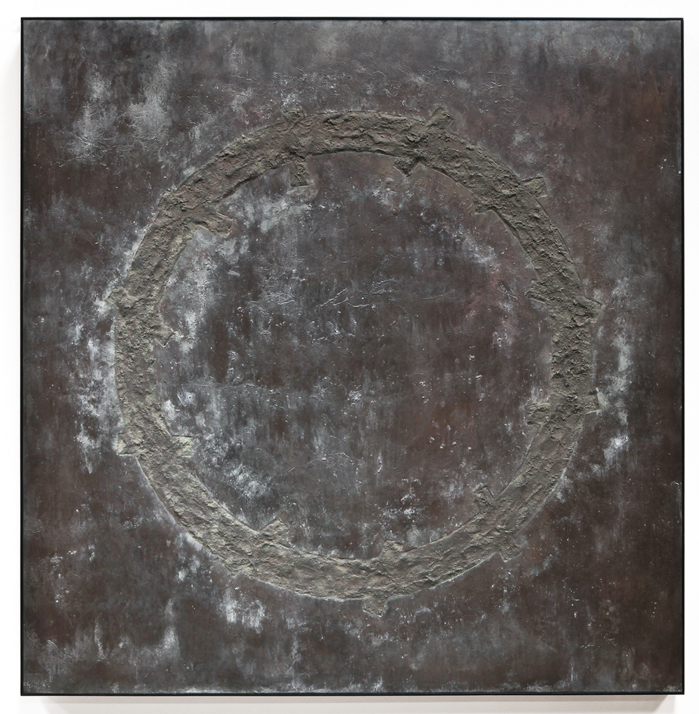 "Crosscurrent No. 3 , Jan. 2015, copper, tin, pine, plywood aluminum, 36 1/4""h x 36 5/16""w x 2""d"
