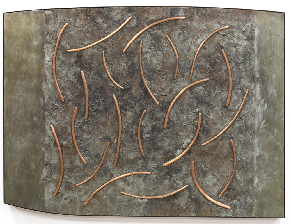 "Dance No. 3 , March 2015, copper, tin, pine, plywood, aluminum, 36 1/4""h x 48 1/4""w x 2""d"