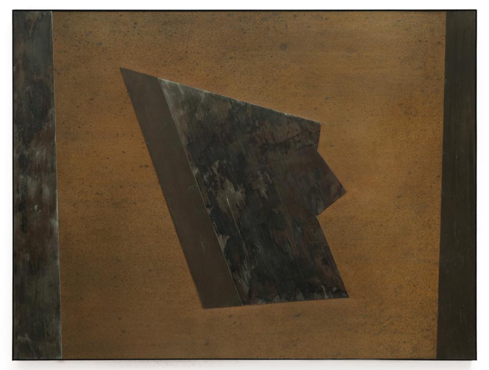 "Divergent Harmonies No. 3 , 2015, copper, tin, pine, plywood, aluminum, 36 1/4""h x 47 3/4""w x 2""d"