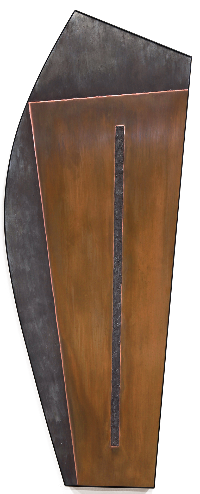 "Linear Composition No. 7 , Oct.-Nov.2014, copper, tin, pine, plywood aluminum, 59 3/8""h x 34 5/8""w x 2""d"