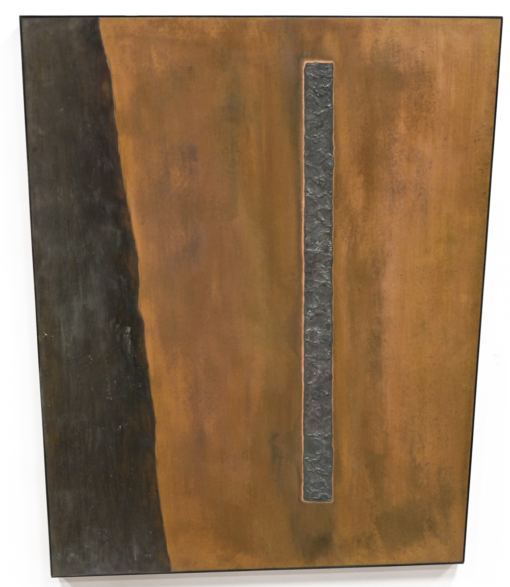 "Linear Composition No. 11 ,  Feb-March 2015, copper, tin, pine, plywood aluminum, 42 1/4""h x36 1/8""w x 2""d"