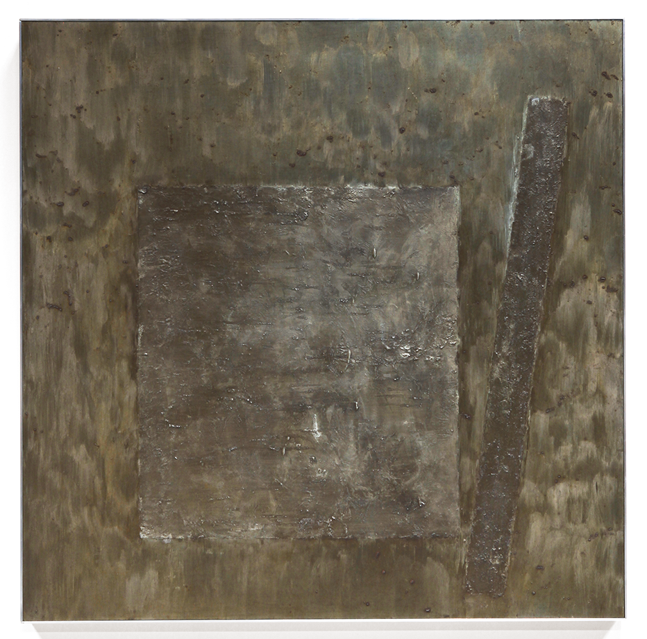 "Press No. 3 , June-July 2014, copper, tin, pine, plywood aluminum, 36 1/8""h x 36 3/16""w x 2""d"