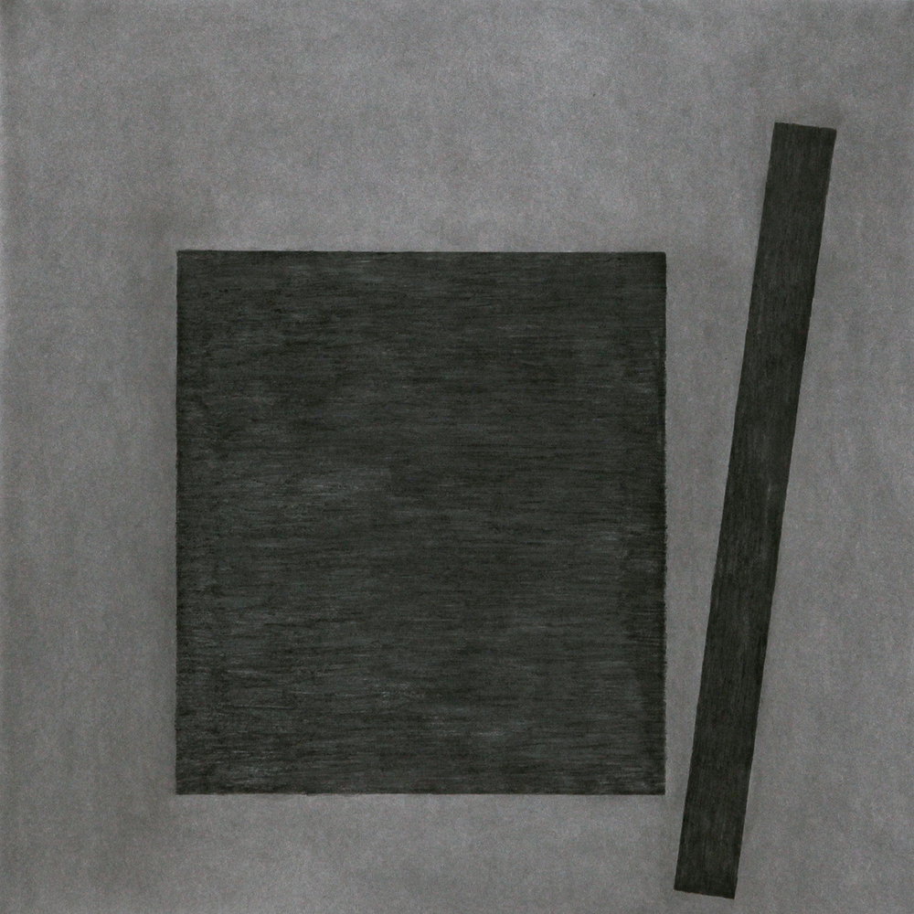 "Press No. 3 , Feb. 2015 charcoal on Stonehenge, 44""h x 44""w"