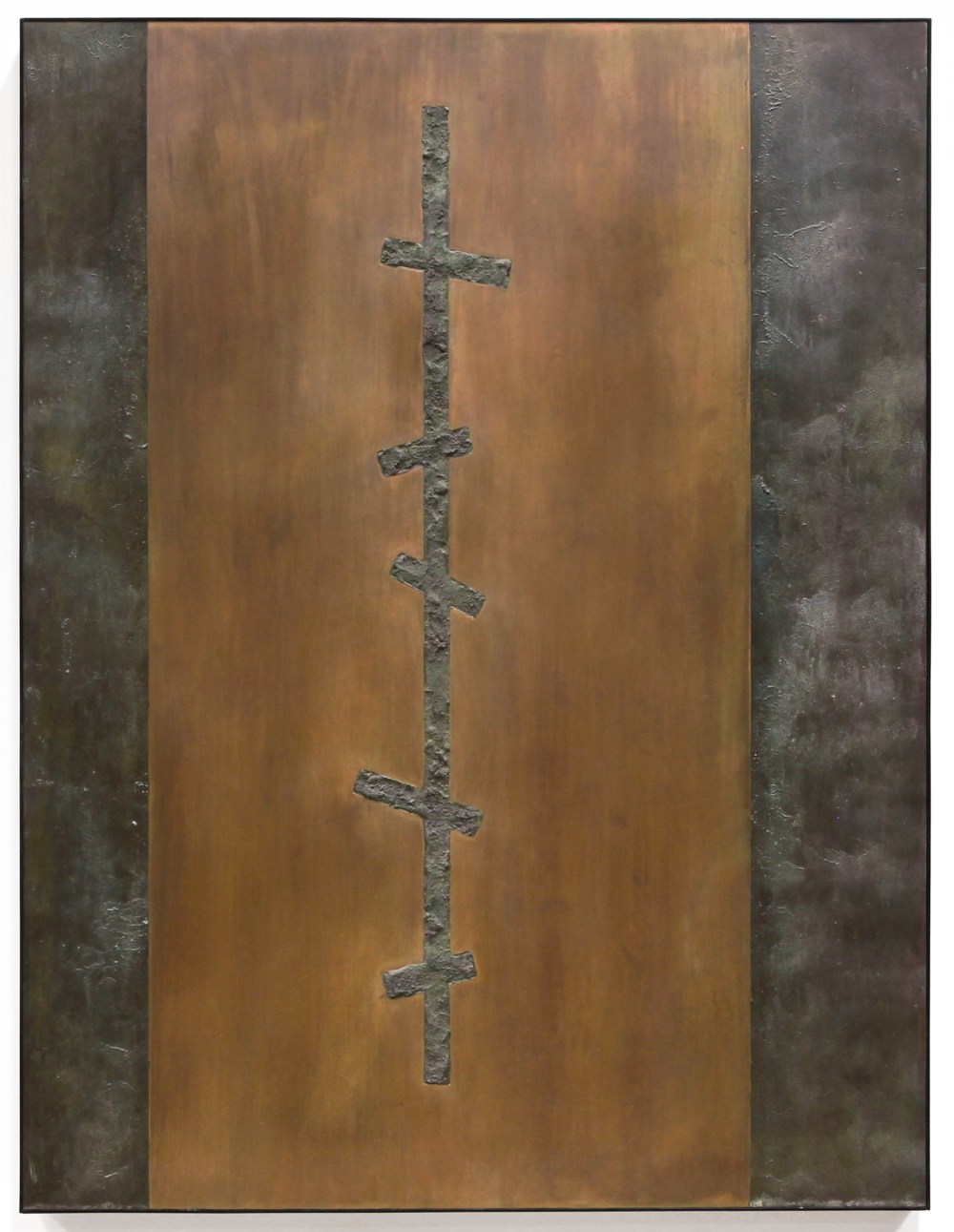 "Crosscurrent No. 2 , Jan. 2015, copper, tin, pine, plywood aluminum, 47 3/4""h x 36 1/4""w x 2""d   AVAILABLE"