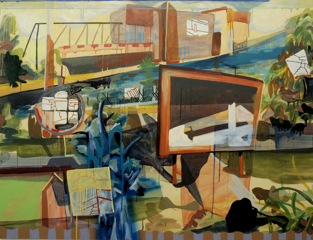 Image: Heather E. Carey,   Factory-Direct Lakeshore  , 2015, acrylic on canvas, 54 x 72 inches.