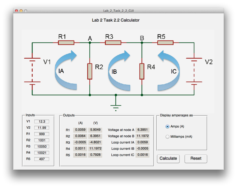 This program calculates the loop currents and voltages for different voltage inputs and resistances. It uses several matrices and nodal analysis. It can display in both Amps and Milliamps, and can reset all fields.