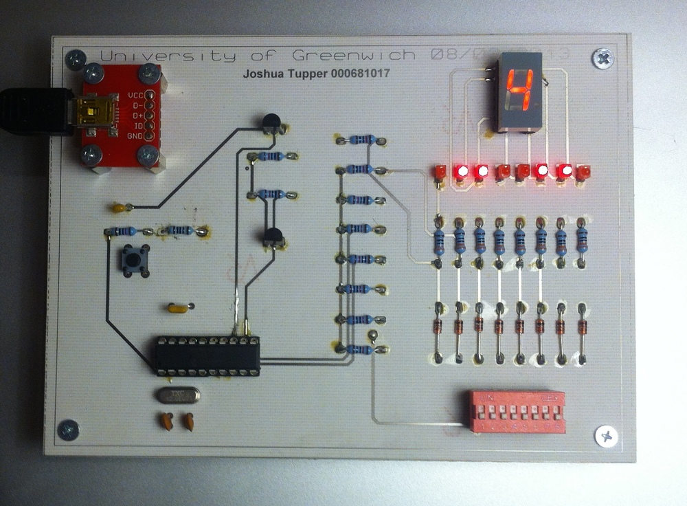 The completed 7 segment display board.