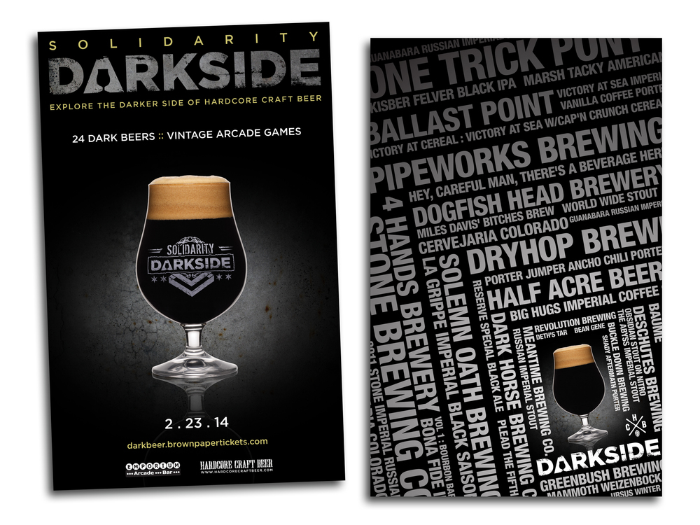 Promotional material fo an annual craft beer event that features dark beers and vintage arcade games.