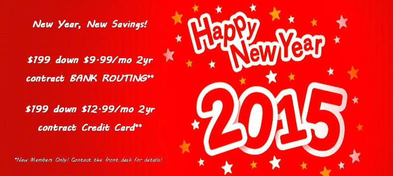 Start your new year off right! New years specials will run from 1/1/15-1/31/15.