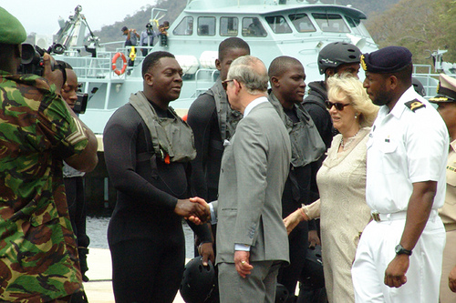 Prince Charles meeting members of an African military group