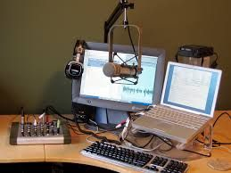 Typical podcast studio