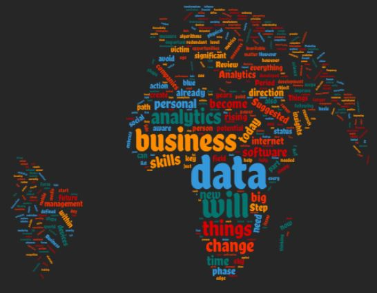 The globe mapped by this word cloud sourced from our articles -Analytics in action.