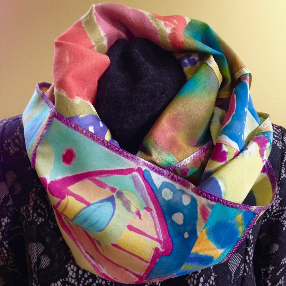 Hand painted silk pieced infinity scarf.
